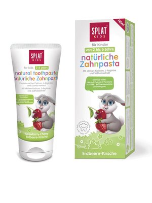 Splat Kids Strawberry-Cherry Tandpasta, 2-6 jaar, Fluoridevrij, Hypoallergeen, 55ml